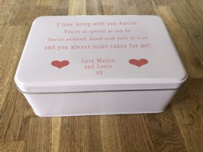 Shabby Personalised chic AUNTIE AUNTY AUNT Cake Biscuit Tin gift ANY NAME Baker - 332815663268